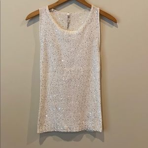 NWT Absolutely white tank top w/ silver sequins